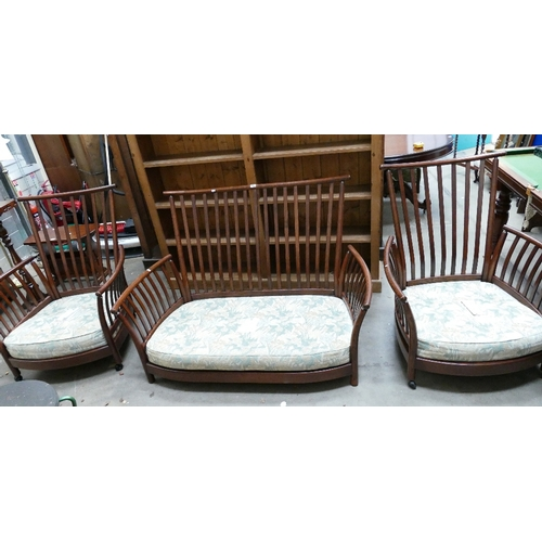 65 - Ercol high stick back settee with two matching arm chairs (3)...