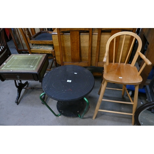 66 - Unusual mid century side table with green metal supports, a pine reproduction child's high chair and...