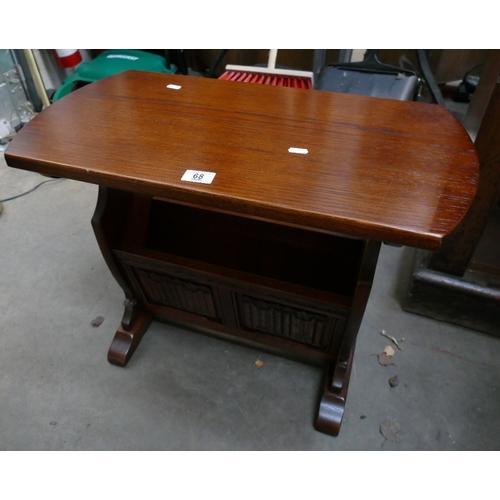68 - 20th century oak old charm magazine rack side table...