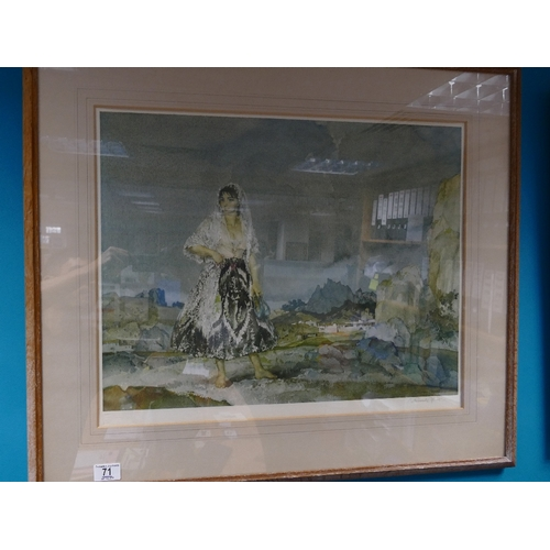 71 - SIR WILLIAM RUSSELL FLINT large signed print in frame with Print Sellers stamp. 44cm x 57cm depictin...