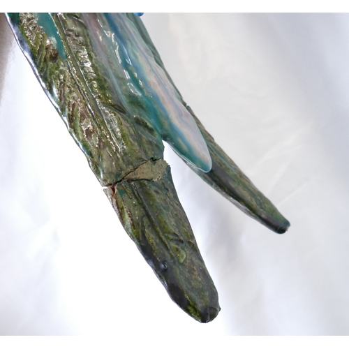 1 - 19th Century possibly continental Majolica Parrot / Macaw: Parrot decorated in deep greens, turquois...