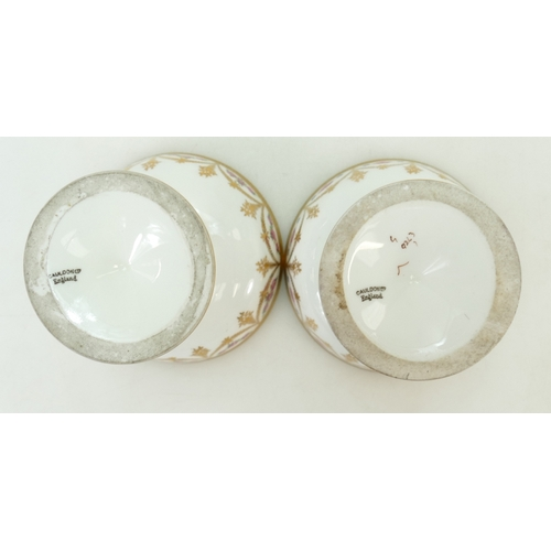 23 - Pair of Cauldon porcelain Bon Bon dishes c1900: Bon bon dishes hand decorated and gilded. Fine quali...