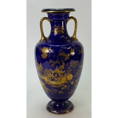 24 - Large Cauldon Vase: Cauldon vase with gilt decoration. 34cm high....