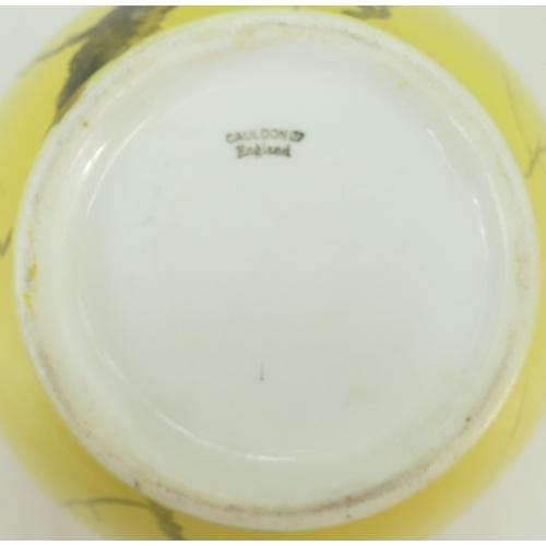 27 - Cauldon hand decorated two handled bulbous vase: Bulbous Cauldon vase decorated with a Magpie in bra...
