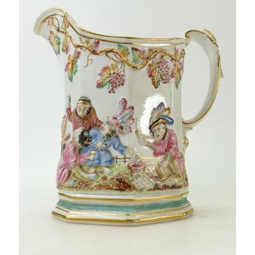 29 - Staffordshire 19th century large monkey design jug: A mid 19th century jug of highly unusual Monkey ...