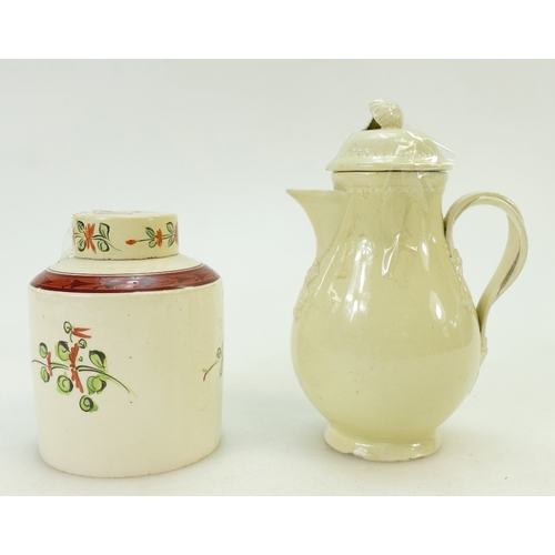 4 - 18th century English Creamware pots: Creamware small coffee pot, height 16cm (chips to base edge and...