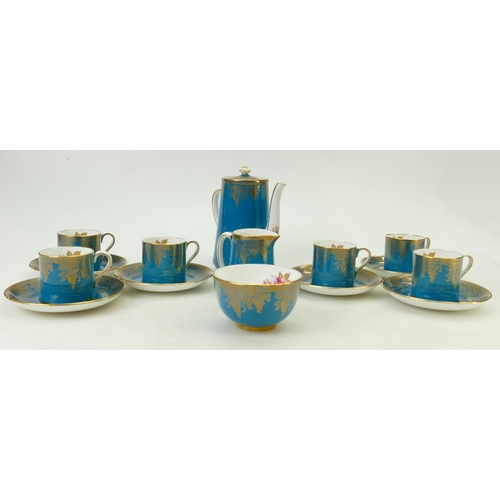 47 - Hammersley gilt and floral decorated Coffee set: Coffee set with central hand decorated panels. (14)...