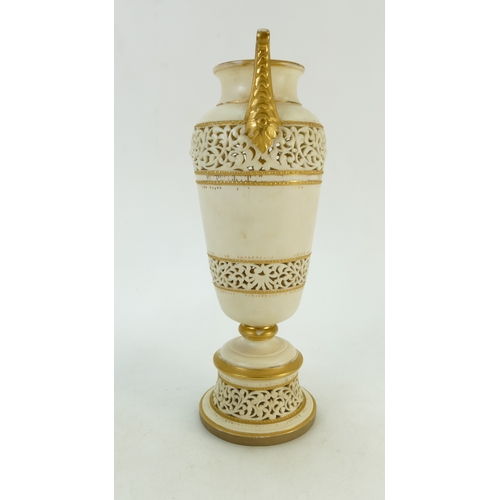 48 - Royal Worcester reticulated two handled Blush Ivory Vase: Vase dated 1966 height 29cm. (gild wear ap...