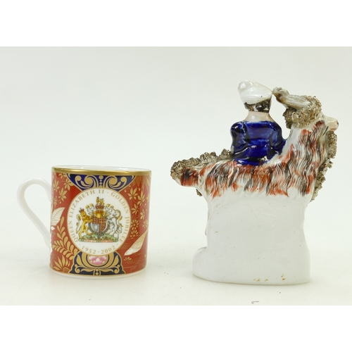 5 - 19th century Staffordshire figure and Royal Worcester coffee can & saucer: Staffordshire figure  of ...