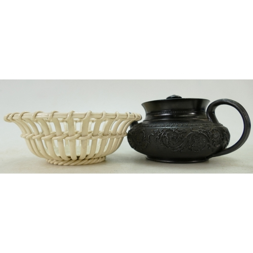 57 - Victorian Jackfield ware Teapot together with a Wedgwood Cream ware chestnut basket: Jackfield Teapo...