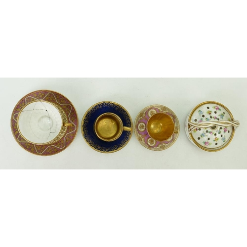 19 - A collection of late 19th century pottery: Pottery including Royal Doulton gilded cabinets can & sau...