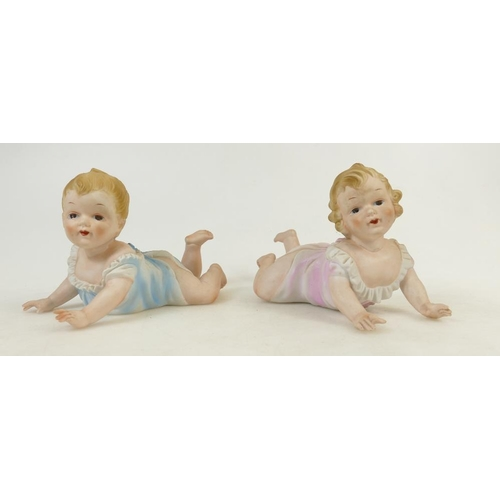 2 - Continental unmarked Bisque Piano Babies: Piano babies height 14cm....