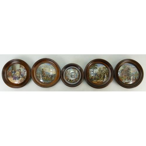 17 - A collection of Prattware circular pot lids in oak frames: Pot lids comprising - Hide and Seek, The ...