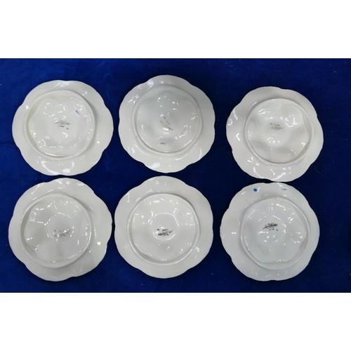 3 - Set of six Sarreguemines Majolica oyster plates: Six plates c1930s, three coloured, diameter 24cm. (...