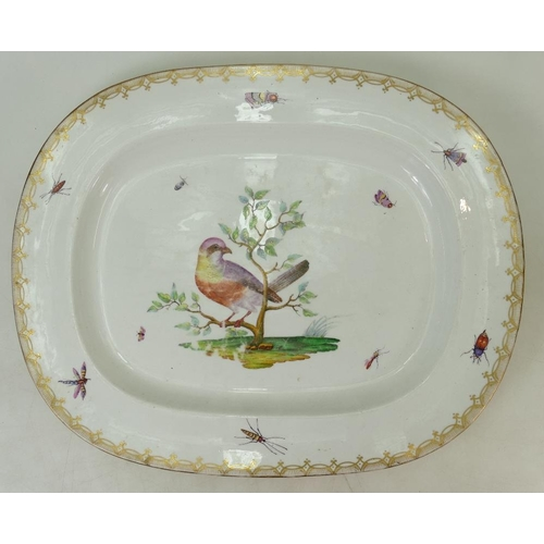 50 - German Meissen Style large Meat platter: Meat platter decorated with Wild Bird and Insect decoration...