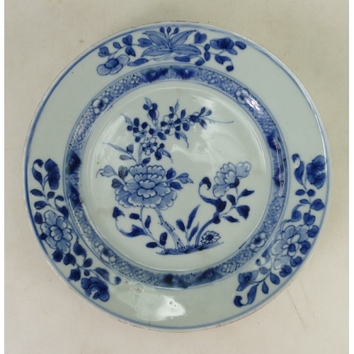 58 - Early Tin Glazed blue and white Delft style plate: Plate decorated with flowers and foliage (hairlin...