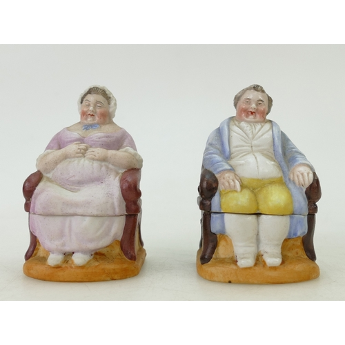 59 - Pair of Continental porcelain boxes and covers: Depicting an 18th century lady and gentleman. (2)...