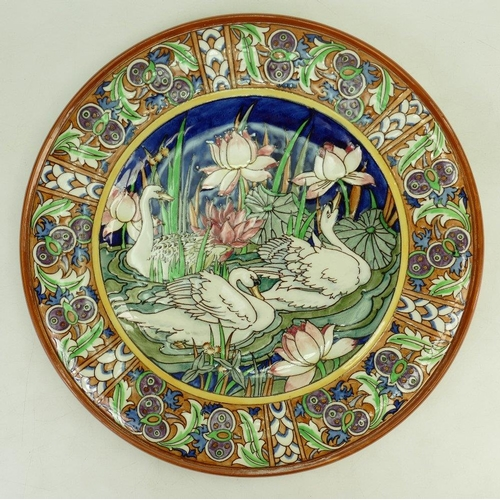 6 - Burgess & Leigh Charlotte Rhead charger: Charger decorated with three swans on a pond with lilies, d...