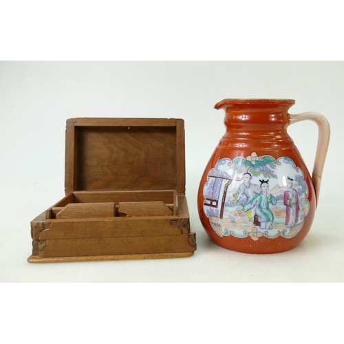 60 - Early 19th Century Masons style jug and cigarette box: Jug decorated with Chinese scenes, height 15....