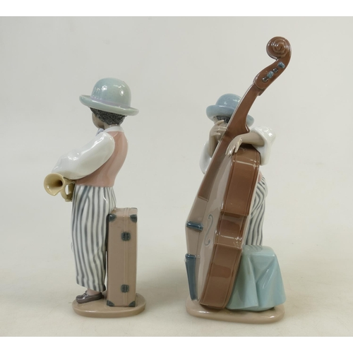 14 - Lladro Jazz Band Figures: Lladro figures titled 'Jazz Horn' model 5832 and 'Jazz Sax' model 5833 (bo...