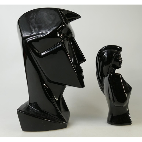 20 - Two Lindsey B / Lindsey Balkweill design / inspired large black busts: Bust height 31cm high, togeth...