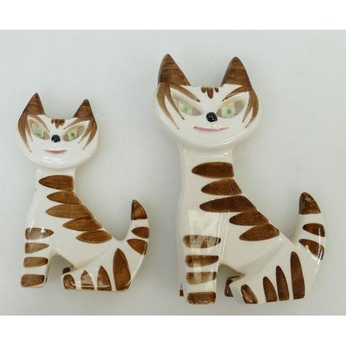 22 - Two Sylvac 1950's comical cats: Sylvac comical cats circa 1950s, measuring 12.5 & 9.5cm bearing mode...