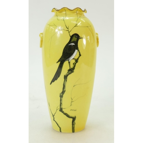26 - Cauldon hand decorated vase: Cauldon vase of a Magpie in branches signed by E S Nixon 20cm high....