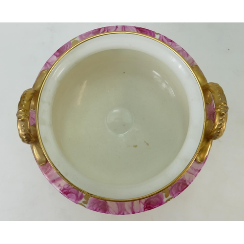 28 - Cauldon hand painted and gilded two handled footed bowl: Cauldon bowl signed by S Pope? 18cm high c1...