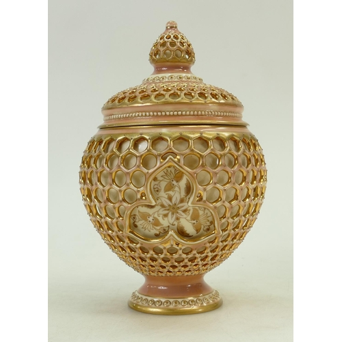 35 - Zsolnay reticulated pot & cover:  Hand decorated & gilded Zsolnay pot, bearing impressed and printed...