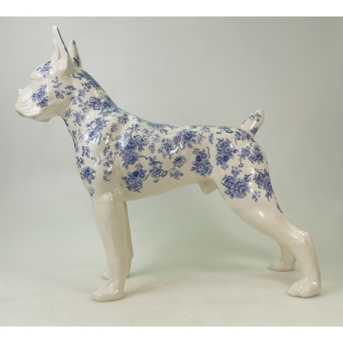 39 - NH Pottery large model of a Boxer dog: Dog is hand decorated with blue & white chintz designs, heigh...