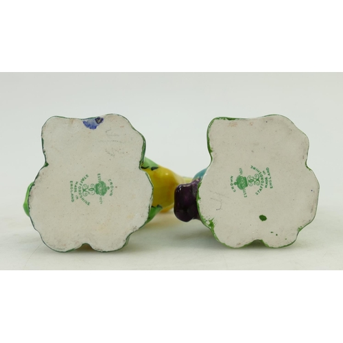 43 - Two Crown Staffordshire comical Grotesque birds: Two unusual duck type figures, c1930's in Yellow an...