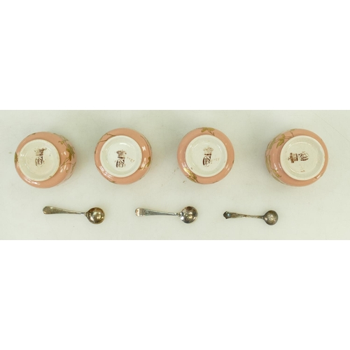 49 - Pinder & Bourne cased 19th century pottery Salt Cellars: Salt Cellars with raised gilt decoration of...