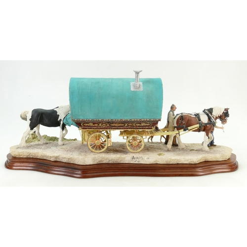 51 - Border Fine Arts large tableau piece of a Gypsy caravan, horses and figures arriving at Appleby fair...