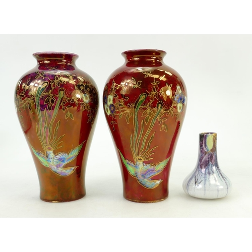 54 - Pair of Wilton ware Lustre vases and Tibetan vase: Wilton vases decorated with Birds of Paradise, he...