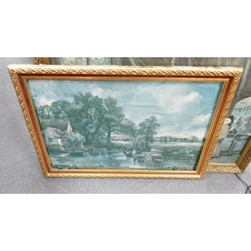 25 - A large collection of framed prints & paintings:...