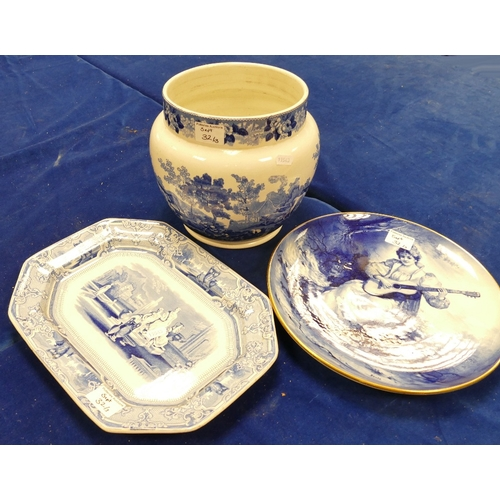 32 - A collection of blue and white items to include: large Adams Planter, T Goodfellow Colonna platter &...