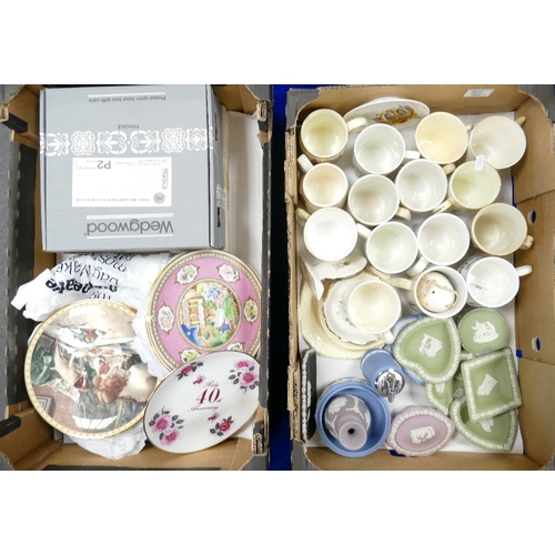 35 - A mixed collection of items to include: Wedgwood jasperware items, commemorative mugs, decorative wa...