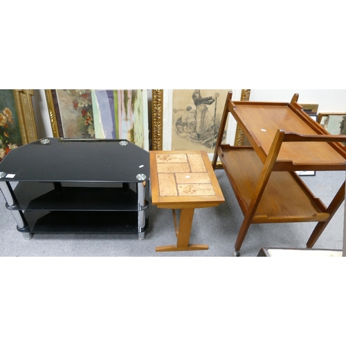 41 - Hostess Trolley, Table and TV Stand: Mid century teak hostess trolley, together with a tile topped s...