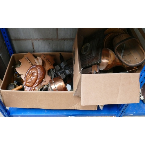 29 - A mixed collection of metal ware items: including brass ornaments, kettles , stands etc (2 trays)...