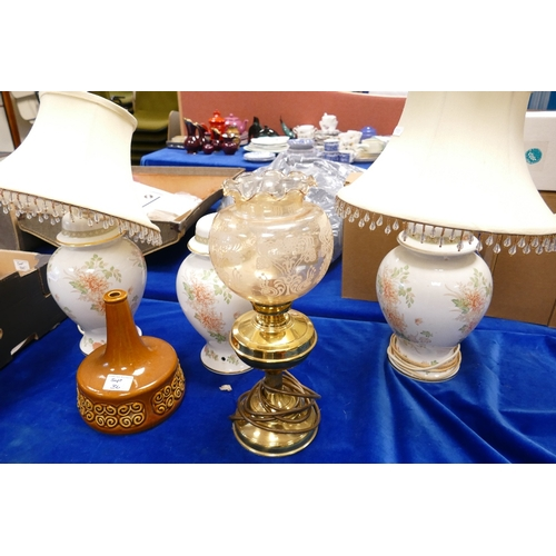 36 - A collection of Mid Century floral decorated table lamps: together with similar brass items etc (5)...