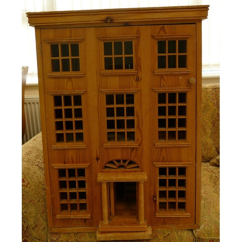 37 - Large late 20th century Pine dolls house: 64 width, 44 depth and 86 height...