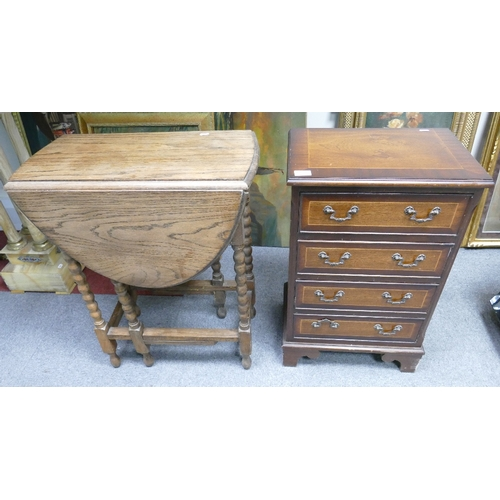 39 - Oak Barley twistgate leg table: together with reproduction inlaid chest of drawers(2)...