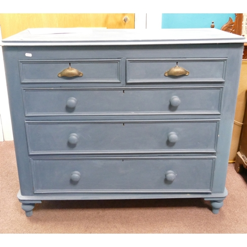 1B - Victorian painted pine 5 drawer chest of drawers:...