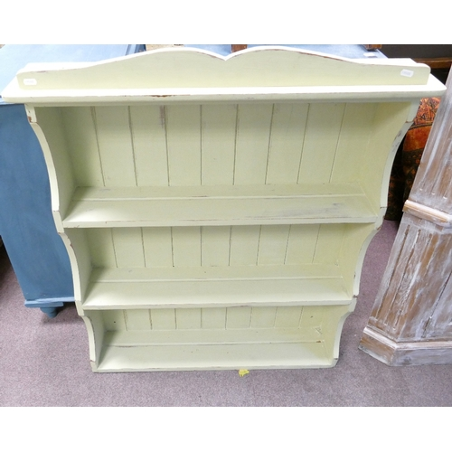 1C - Painted wood wall plate rack:...