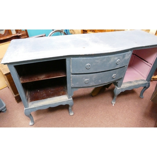 1D - Vintage large painted mahogany queen anne style sideboard:...
