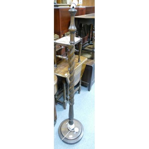 5A - 1930s oak twisty lampstand:...