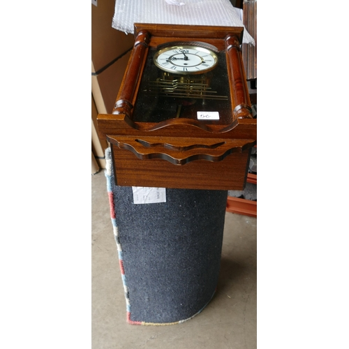 5G - Modern Mahogany cased Westminster Wall Clock: together with Indian made carpet runner(2)...