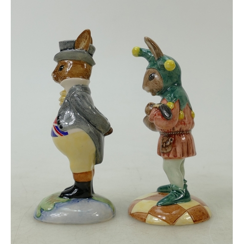 12 - Royal Doulton Bunnykins figures Jester and John Bull: The Jester: DB161 (boxed) and John Bull DB134,...