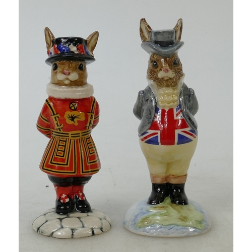 17 - Royal Doulton Bunnykins figures Beefeater and John Bull: Beefeater DB163 boxed together with John Bu...