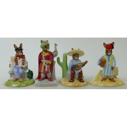 20 - Royal Doulton Bunnykins figures Parisian: DB317, Arabian Nights DB315, Mexican DB316 and Egyptian DB...